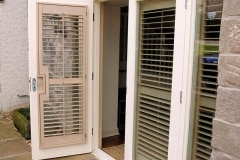 Custom Painted Plantation Shutters Fitted to French Doors