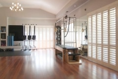 Silk White Security Shutters in a Gym