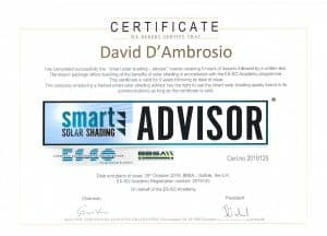 David D'Ambrosio Certified Smart Solar Shading Advisor - European Solar Shading Organisation