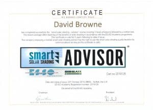 David Browne Certified Smart Solar Shading Advisor - European Solar Shading Organisation