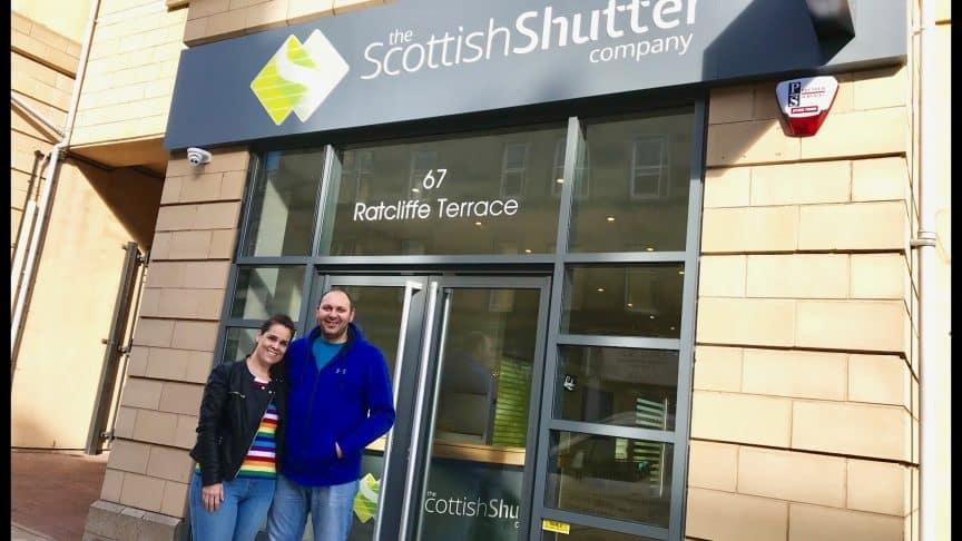 Judith & David D'Ambrosio outside the Luxaflex Blinds Gallery Showroom in Edinburgh