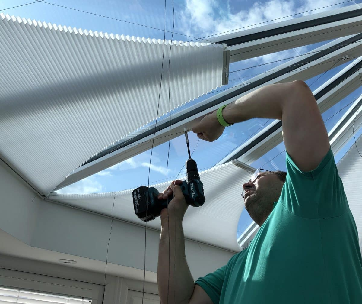Job Opportunities: David D'Ambrosio of The Scottish Shutter Company Fitting Luxaflex Duette Conservatory Roof Blinds
