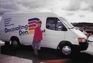 June Browne with her Decorating Den van