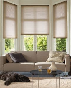 Duette Blinds on a Bay Window from The Scottish Shutter Company